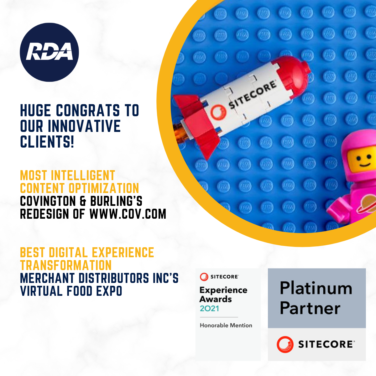 Two Innovative RDA Clients Recognized In 2021 Sitecore Experience Honorable Mentions